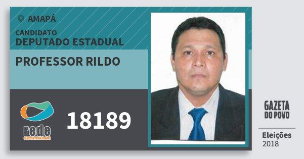 Santinho Professor Rildo 18189 (REDE) Deputado Estadual | Amapá | Eleições 2018