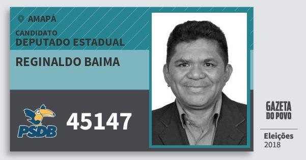 Santinho Reginaldo Baima 45147 (PSDB) Deputado Estadual | Amapá | Eleições 2018