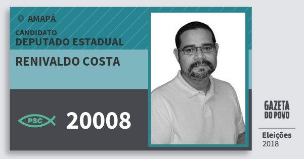 Santinho Renivaldo Costa 20008 (PSC) Deputado Estadual | Amapá | Eleições 2018