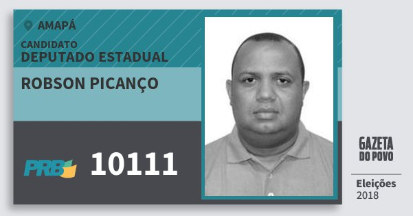 Santinho Robson Picanço 10111 (PRB) Deputado Estadual | Amapá | Eleições 2018