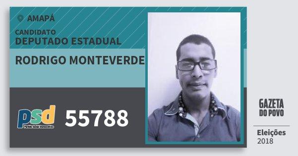 Santinho Rodrigo Monteverde 55788 (PSD) Deputado Estadual | Amapá | Eleições 2018