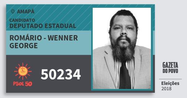 Santinho Romário - Wenner George 50234 (PSOL) Deputado Estadual | Amapá | Eleições 2018