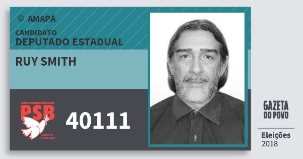 Santinho Ruy Smith 40111 (PSB) Deputado Estadual | Amapá | Eleições 2018