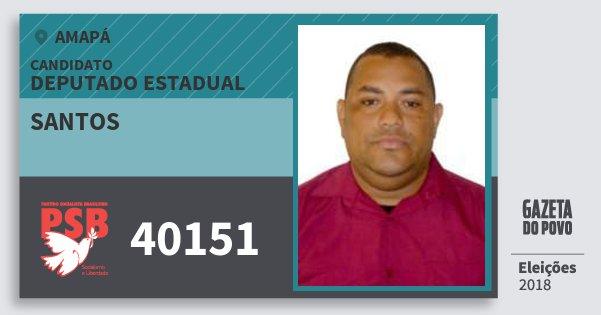 Santinho Santos 40151 (PSB) Deputado Estadual   Amapá   Eleições 2018