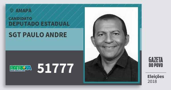 Santinho Sgt Paulo Andre 51777 (PATRI) Deputado Estadual | Amapá | Eleições 2018