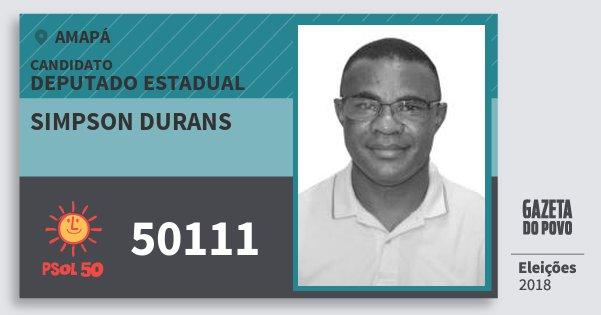Santinho Simpson Durans 50111 (PSOL) Deputado Estadual | Amapá | Eleições 2018