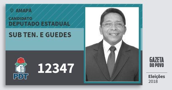 Santinho Sub Ten. e Guedes 12347 (PDT) Deputado Estadual | Amapá | Eleições 2018