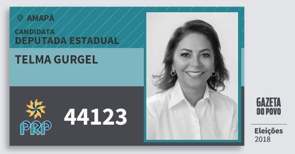 Santinho Telma Gurgel 44123 (PRP) Deputada Estadual | Amapá | Eleições 2018