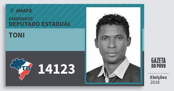 Santinho Toni 14123 (PTB) Deputado Estadual | Amapá | Eleições 2018
