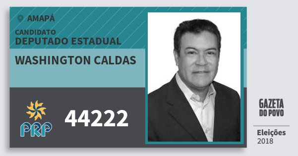 Santinho Washington Caldas 44222 (PRP) Deputado Estadual | Amapá | Eleições 2018