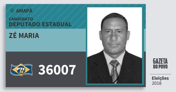 Santinho Zé Maria 36007 (PTC) Deputado Estadual | Amapá | Eleições 2018