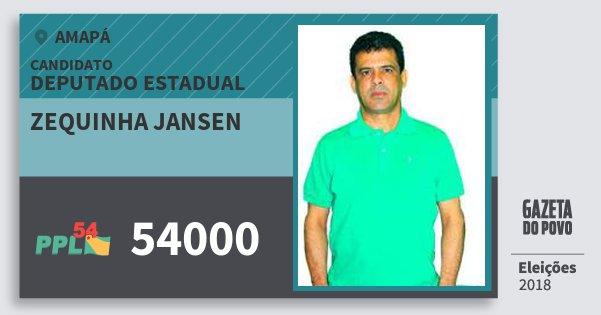 Santinho Zequinha Jansen 54000 (PPL) Deputado Estadual | Amapá | Eleições 2018