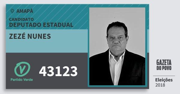 Santinho Zezé Nunes 43123 (PV) Deputado Estadual | Amapá | Eleições 2018