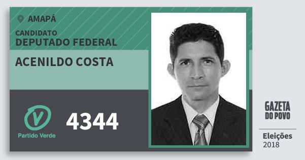 Santinho Acenildo Costa 4344 (PV) Deputado Federal | Amapá | Eleições 2018