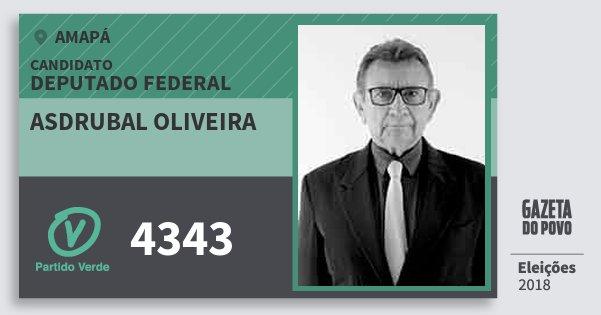 Santinho Asdrubal Oliveira 4343 (PV) Deputado Federal | Amapá | Eleições 2018