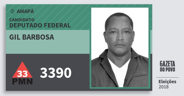 Santinho Gil Barbosa 3390 (PMN) Deputado Federal | Amapá | Eleições 2018