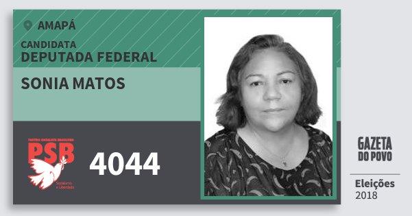 Santinho Sonia Matos 4044 (PSB) Deputada Federal | Amapá | Eleições 2018