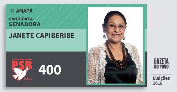 Santinho Janete Capiberibe 400 (PSB) Senadora | Amapá | Eleições 2018