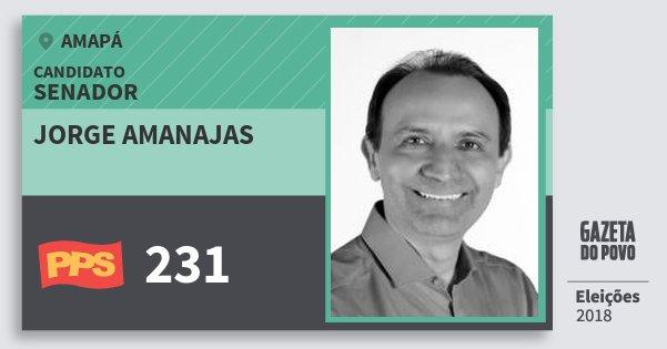 Santinho Jorge Amanajas 231 (PPS) Senador | Amapá | Eleições 2018