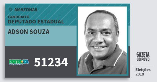 Santinho Adson Souza 51234 (PATRI) Deputado Estadual | Amazonas | Eleições 2018