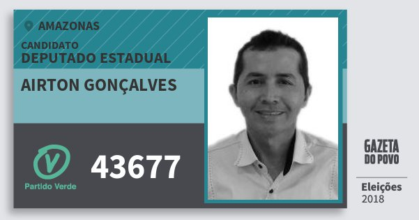 Santinho Airton Gonçalves 43677 (PV) Deputado Estadual | Amazonas | Eleições 2018