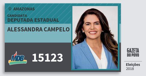 Santinho Alessandra Campelo 15123 (MDB) Deputada Estadual | Amazonas | Eleições 2018