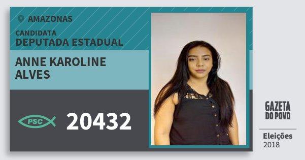 Santinho Anne Karoline Alves 20432 (PSC) Deputada Estadual | Amazonas | Eleições 2018