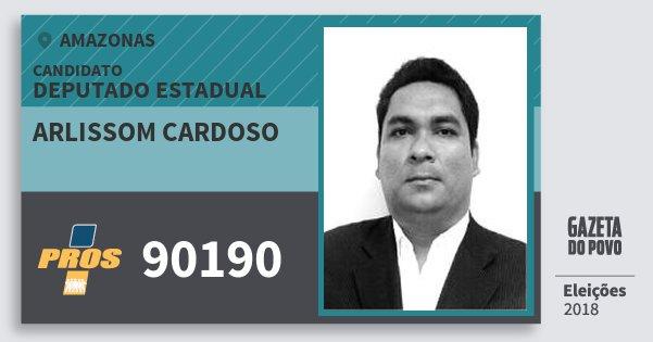 Santinho Arlissom Cardoso 90190 (PROS) Deputado Estadual | Amazonas | Eleições 2018