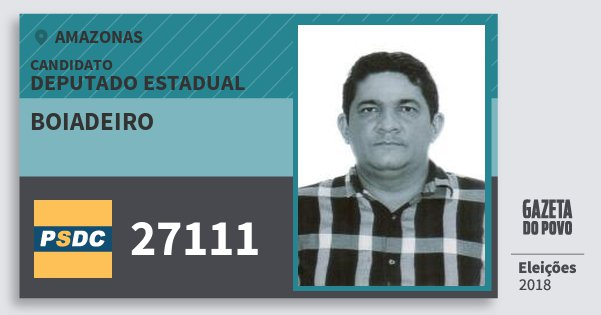 Santinho Boiadeiro 27111 (DC) Deputado Estadual | Amazonas | Eleições 2018