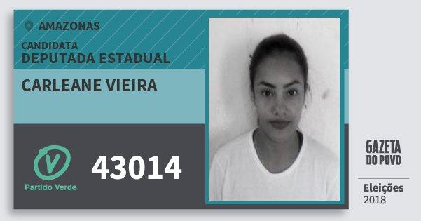 Santinho Carleane Vieira 43014 (PV) Deputada Estadual | Amazonas | Eleições 2018