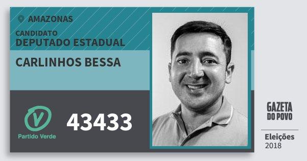 Santinho Carlinhos Bessa 43433 (PV) Deputado Estadual | Amazonas | Eleições 2018