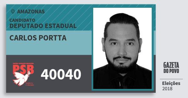 Santinho Carlos Portta 40040 (PSB) Deputado Estadual | Amazonas | Eleições 2018
