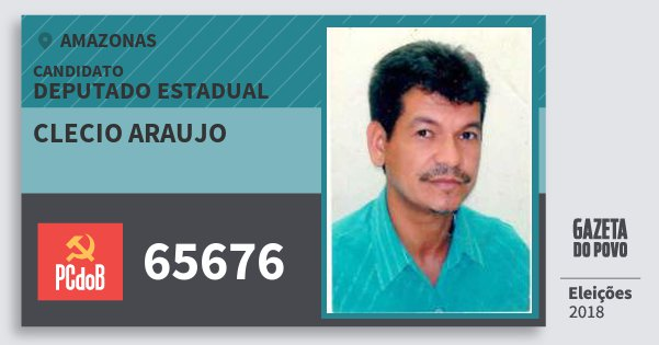 Santinho Clecio Araujo 65676 (PC do B) Deputado Estadual | Amazonas | Eleições 2018
