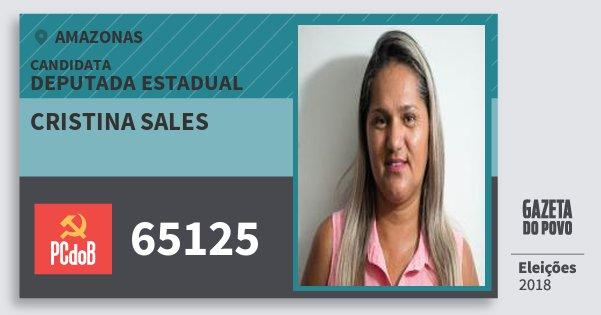 Santinho Cristina Sales 65125 (PC do B) Deputada Estadual | Amazonas | Eleições 2018
