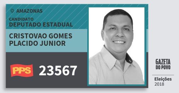 Santinho Cristovao Gomes Placido Junior 23567 (PPS) Deputado Estadual | Amazonas | Eleições 2018