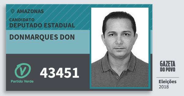 Santinho Donmarques Don 43451 (PV) Deputado Estadual | Amazonas | Eleições 2018