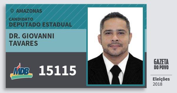 Santinho Dr. Giovanni Tavares 15115 (MDB) Deputado Estadual | Amazonas | Eleições 2018