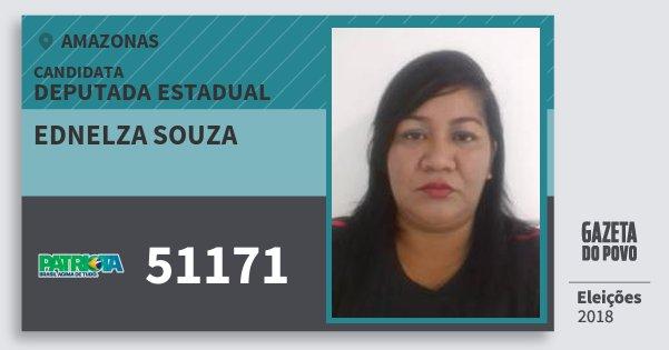 Santinho Ednelza Souza 51171 (PATRI) Deputada Estadual | Amazonas | Eleições 2018