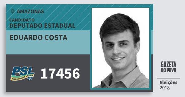 Santinho Eduardo Costa 17456 (PSL) Deputado Estadual | Amazonas | Eleições 2018