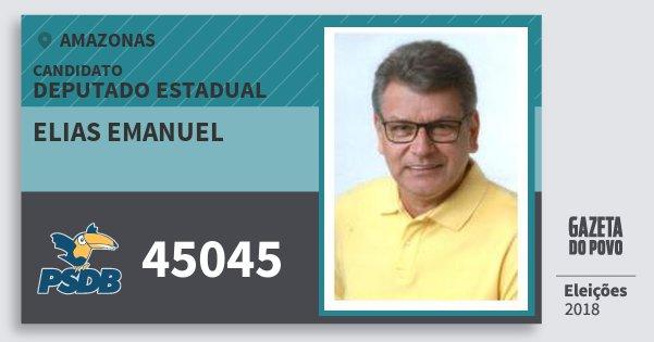 Santinho Elias Emanuel 45045 (PSDB) Deputado Estadual | Amazonas | Eleições 2018