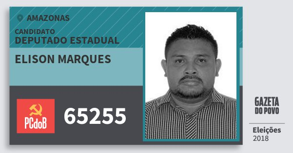 Santinho Elison Marques 65255 (PC do B) Deputado Estadual | Amazonas | Eleições 2018