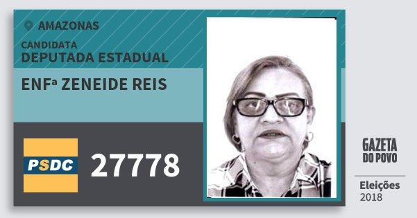 Santinho Enfª Zeneide Reis 27778 (DC) Deputada Estadual | Amazonas | Eleições 2018