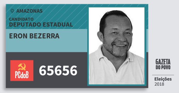 Santinho Eron Bezerra 65656 (PC do B) Deputado Estadual | Amazonas | Eleições 2018