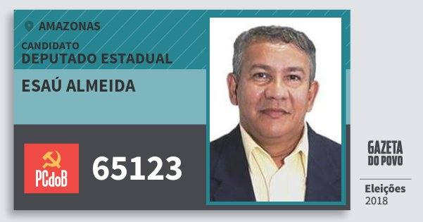 Santinho Esaú Almeida 65123 (PC do B) Deputado Estadual | Amazonas | Eleições 2018