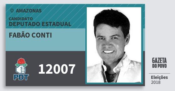 Santinho Fabão Conti 12007 (PDT) Deputado Estadual | Amazonas | Eleições 2018