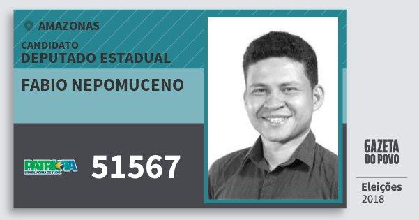 Santinho Fabio Nepomuceno 51567 (PATRI) Deputado Estadual | Amazonas | Eleições 2018