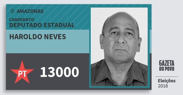 Santinho Haroldo Neves 13000 (PT) Deputado Estadual | Amazonas | Eleições 2018