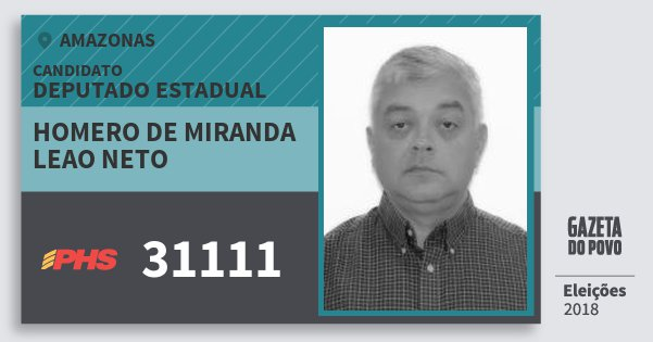 Santinho Homero de Miranda Leao Neto 31111 (PHS) Deputado Estadual | Amazonas | Eleições 2018
