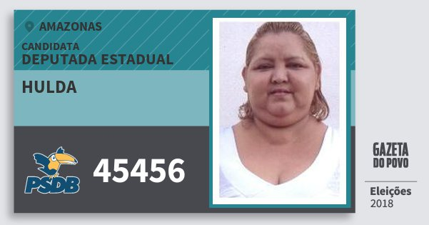 Santinho Hulda 45456 (PSDB) Deputada Estadual | Amazonas | Eleições 2018