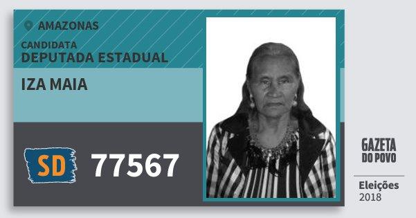 Santinho Iza Maia 77567 (SOLIDARIEDADE) Deputada Estadual | Amazonas | Eleições 2018
